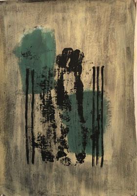 Good silent vipes, 2020. Acryl-Cellulose auf Papier. 69 x 50 cm.