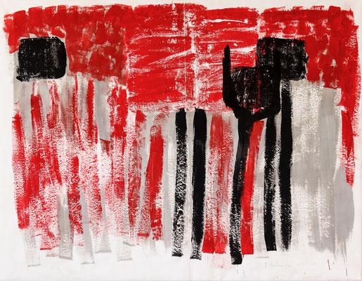 13/2012 Red with black Stripes, 2012. Acryl-Cellulose auf Papier. 120 x 155 cm.