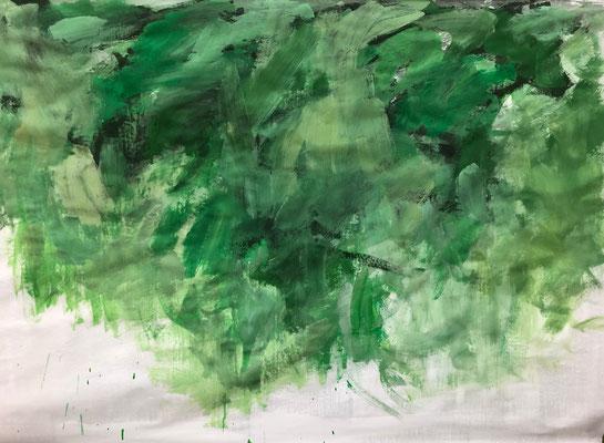 Soft moss, 2020. Acryl-Cellulose auf Papier auf Leinwand. 100 x 150 cm.