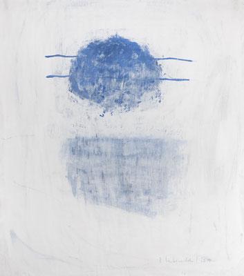Gambling Blue, 2018. Acryl-Cellulose auf Papier. 110 x 100 cm.