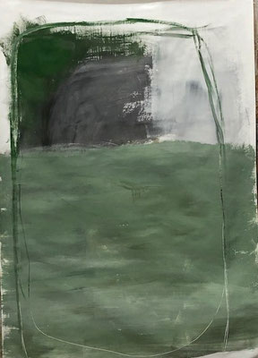 Green with black in a rectangle, 2020. Acryl-Cellulose auf Papier auf Leinwand. 100 x 70 cm.