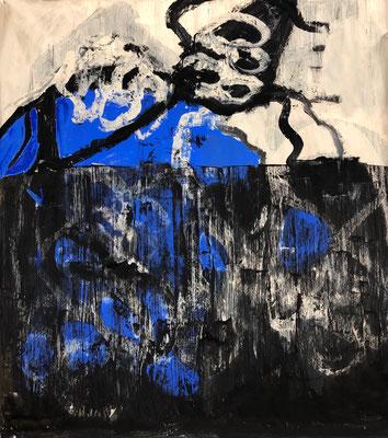 Les choses necessaires, 2019.  Gouache auf Papier auf Leinwand. 110 x 100 cm.