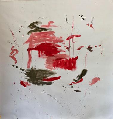 Red in Tachism I, 2019. Acryl auf Leinwand. 200 x 200 cm.