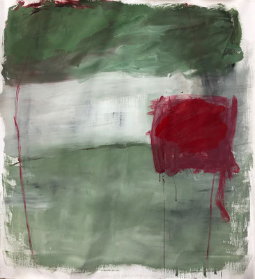 Green with red square, 2020. Acryl-cellulose on paper on canvas. 108 x 100 cm.