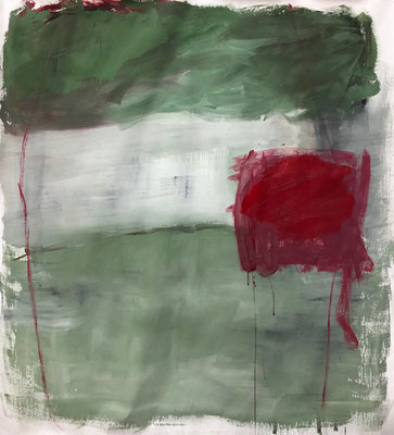 Green with red square, 2020. Acryl-Cellulose auf Papier auf Leinwand. 108 x 100 cm.