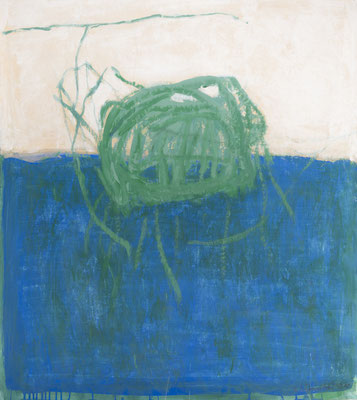 Befreites Urzeit-Meer, 2018. Acryl-Cellulose auf Papier. 110 x 100 cm.