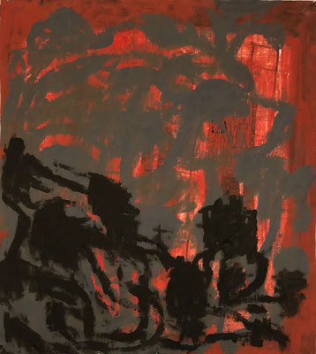 Moonwalkers, 2019. Acryl-Cellulose auf Papier auf Leinwand. 110 x 100 cm.