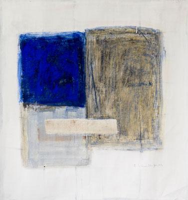Blue Square, 2016. Acryl-Cellulose auf Papier. 108 x 100 cm.