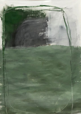 Green with black in a rectangle, 2020. Acryl-Cellulose on paper on canvas. 100 x 70 cm.