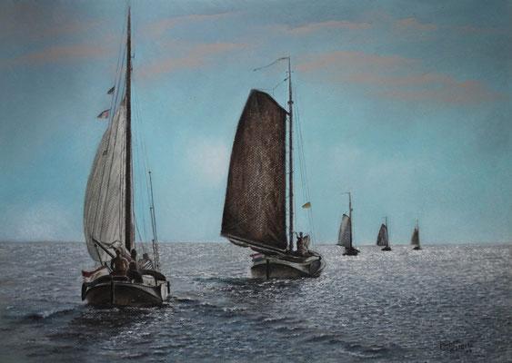 In flachen Gewässern, Öl-Pastellkreide, 40 x 59 cm, 2013