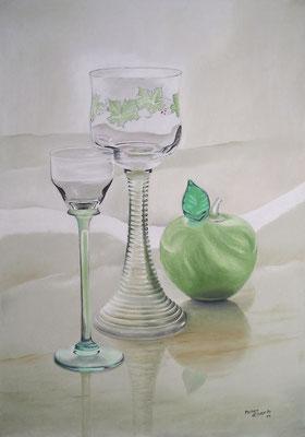 Alles Glas, Öl-Pastellkreide, 44 x 64 cm, 2011  Preis auf Anfrage