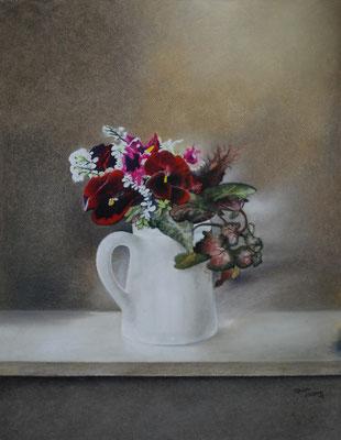 Stiefmütterchen, Öl-Pastellkreide, 40 x 50 cm, 2015