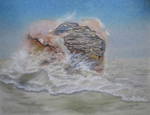 Brandung, Öl-Pastellkreide, 46 x 61 cm, 2017