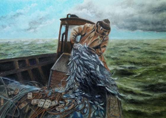 Herings-Saison, Öl-Pastellkreide, 40 x 57 cm, 2020