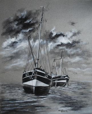 Fischerboote aufgesetzt, Zeichenkreide, 47 x 58 cm, 2013