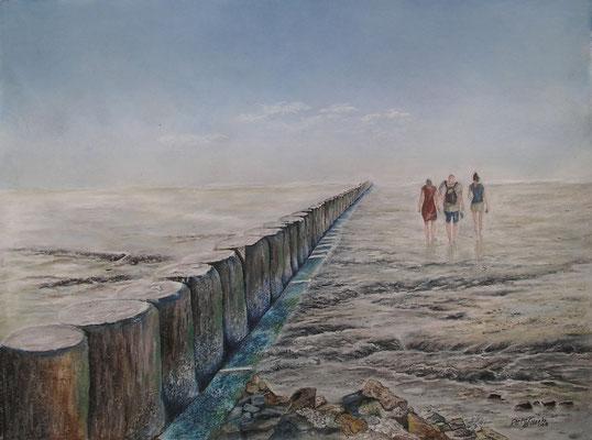 Strandläufer, Öl-Pastellkreide, 45 x 61 cm, 2013