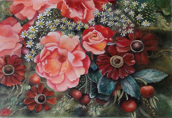 Sommerduft, Öl-Pastellkreide, 31 x 46 cm, 2019