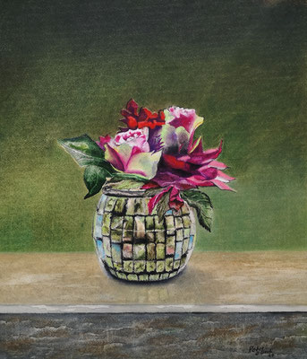 Stilleben mit Rose, Öl-Pastellkreide, 34 x 39 cm, 2020