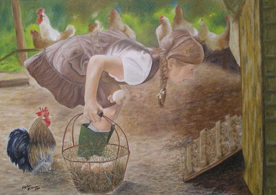 Der Traum vom eigenen Ei, Öl-Pastellkreide, 48 x 68 cm, 2010  Preis auf Anfrage