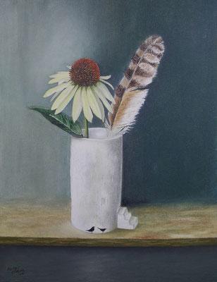 Stillleben mit Feder, Öl-Pastellkreide, 32 x 43 cm, 2017