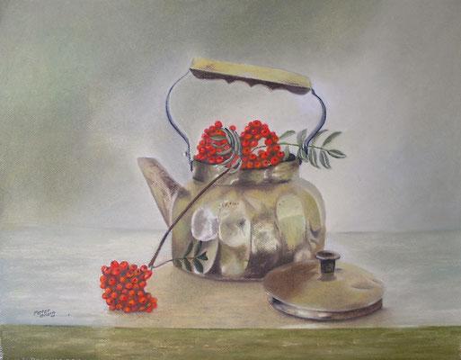 Messingkessel, Öl-Pastellkreide, 46 x 59 cm, 2011