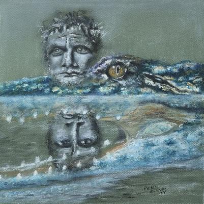 Der Diktator, Mischtechnik, 28 x 30 cm, 2019