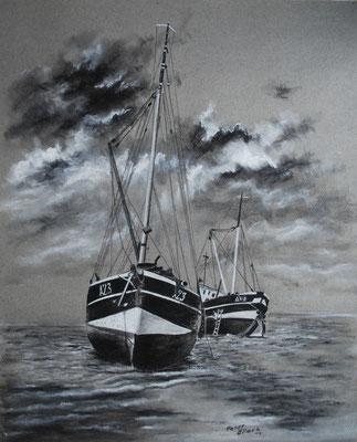 Fischerboote aufgesetzt, Zeichenkreide, 47 x 58 cm, 2013  Preis auf Anfrage