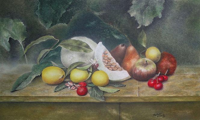 Stillleben mit Früchten, Öl-Pastellkreide, 34 x 54 cm, 2015