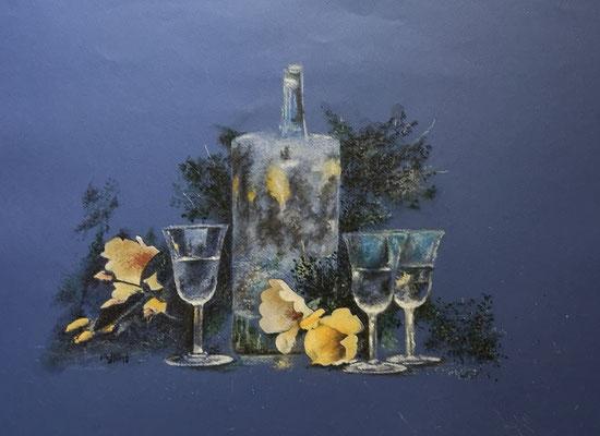 Blüte und Glas, Mischtechnik, 40 x 52 cm, 2020