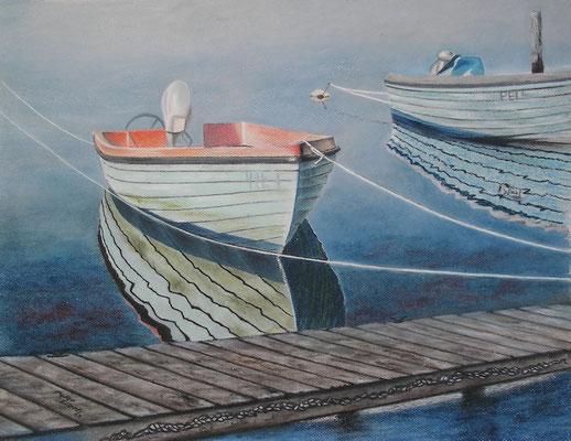 Alte Holzboote, Öl-Pastellkreide, 47 x 60 cm, 2013
