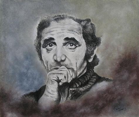 Charles Aznavour, Mischtechnik, 41 x 50 cm, 2013