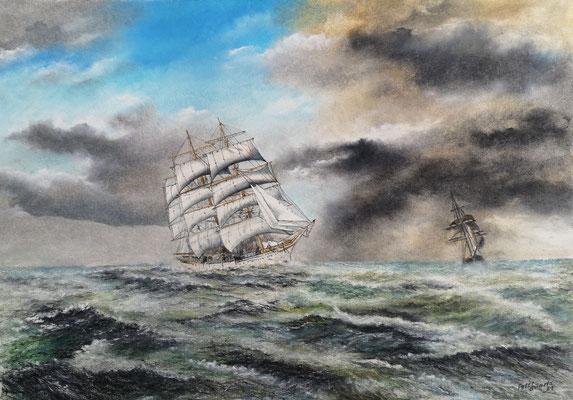 Großherzogin Elisabeth unter Segel, Öl-Pastellkreide, 45 x 64 cm, 2021