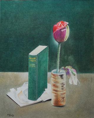 Aufrecht, Öl-Pastellkreide, 37 x 46 cm, 2018  Preis auf Anfrage