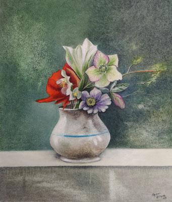 Blüten im Krug, Öl-Pastellkreide, 36 x 43 cm, 2019