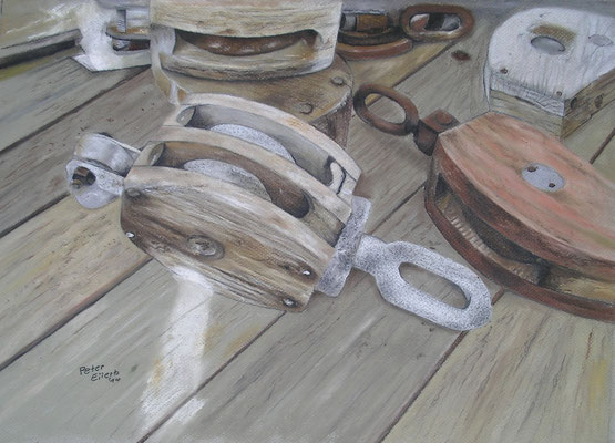 Ausgelagert, Öl-Pastellkreide, 34 x 48 cm, 2014