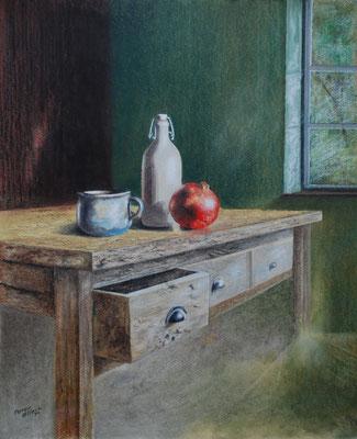 Aus altem Holz, Öl-Pastellkreide, 40 x 49 cm, 2014
