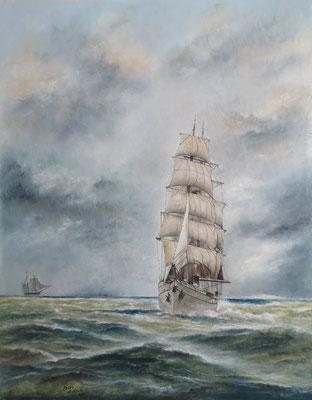 Gorch Fock in stürmischer See, Öl-Pastellkreide, 48 x 58 cm, 2020