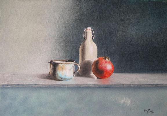 Stillleben mit Granatapfel, Öl-Pastellkreide, 38 x 53 cm, 2016