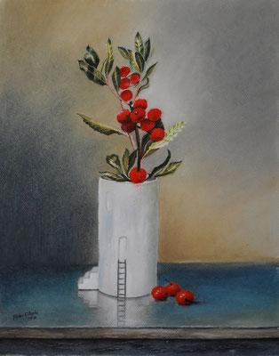 Stillleben mit roten Früchten, Öl-Pastellkreide, 35 x 44 cm, 2017
