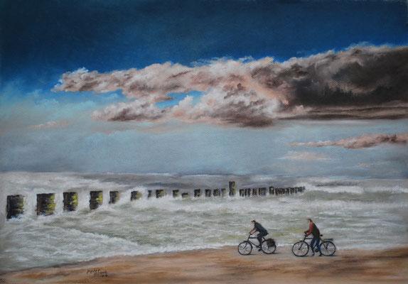 Quellwolken, Öl-Pastellkreide, 41 x 49 cm, 2017