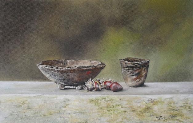 Kastanien, Öl-Pastellkreide, 38 x 59 cm, 2014