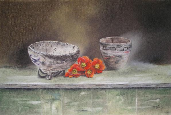 Alte Steingefäße, Öl-Pastellkreide, 37 x 57 cm, 2014  Preis auf Anfrage
