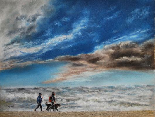 Strandwanderung, Öl-Pastellkreide, 41 x 53 cm, 2018