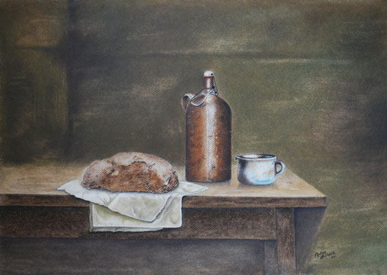 Brotzeit, Öl-Pastellkreide, 38 x 50 cm, 2014