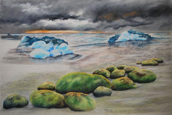 Ende einer Eiszeit, Öl-Pastellkreide, 40 x 61 cm, 2017