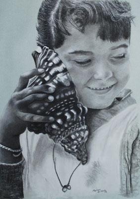 Das Meer rauscht, Zeichenkreide, 34 x 48 cm, 2012  Preis auf Anfrage