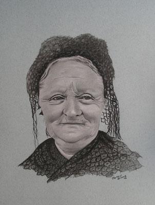 Frederike die Friesin, Zeichenkreide, 36 x 46 cm, 2012  Preis auf Anfrage