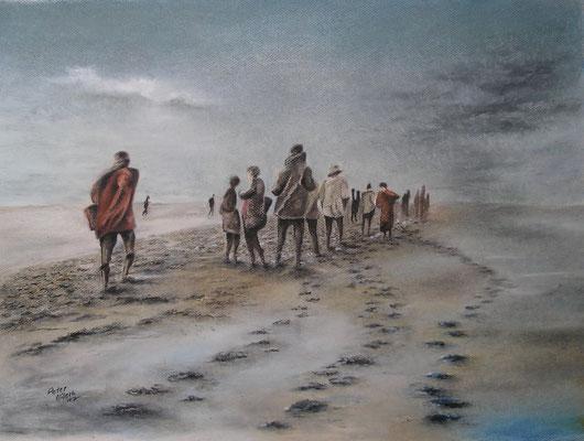 Wattenmeer mit allen Sinnen II, Öl-Pastellkreide, 44 x 60 cm, 2017,