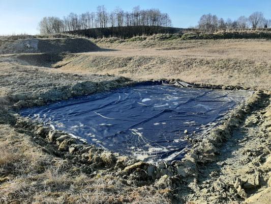 Neu angelegter Folienteich in Glon