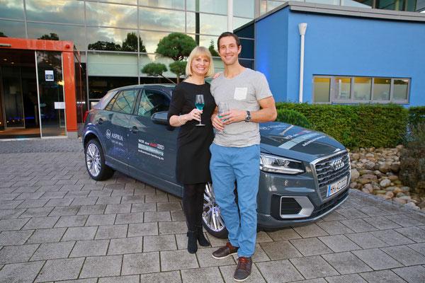 Torsten Jansen und Geraldine Seibel-Lübbke vor Aspria-Kooperationspartner Audi